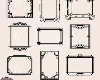Frames Clip Art Art Nouveau Digital Clipart Etsy