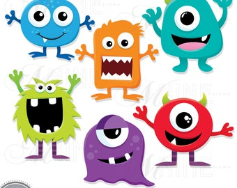 SILLY MONSTERS Clip Art / Monster Clipart Downloads / Monster Party, Monsters Theme, Monsters Scrapbook Clipart, Vector Monsters