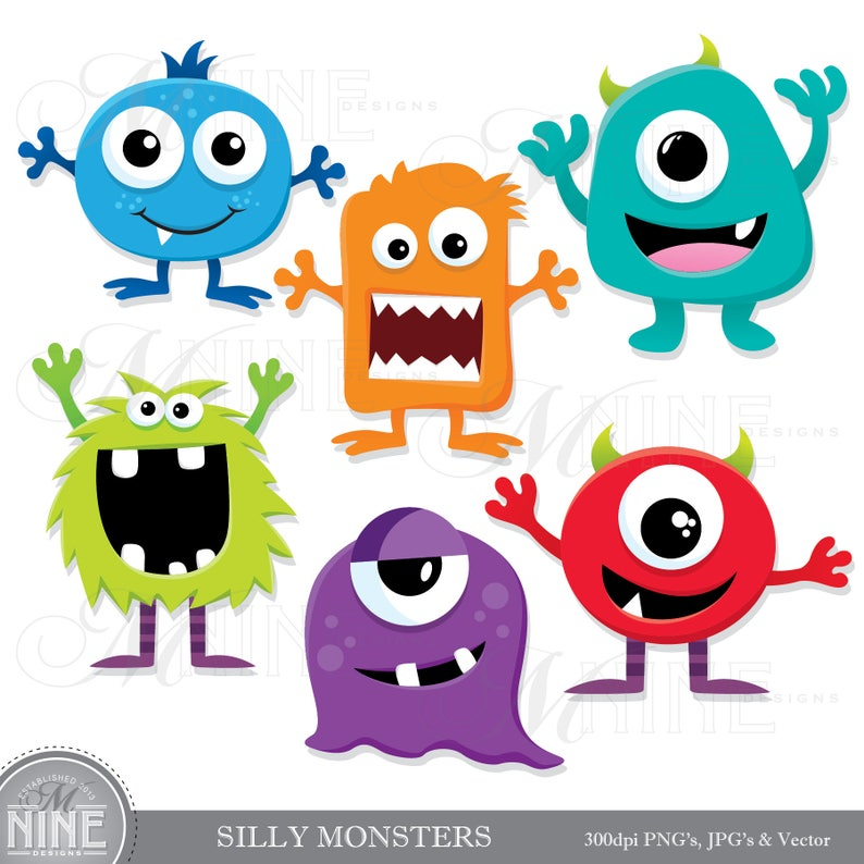 SILLY MONSTERS Clip Art / Monster Clipart Downloads / Monster image 0