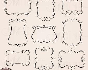 ELEGANT FRAMES Clip Art: Borders Frames Clipart Design Elements, Instant Download, Black Silhouette