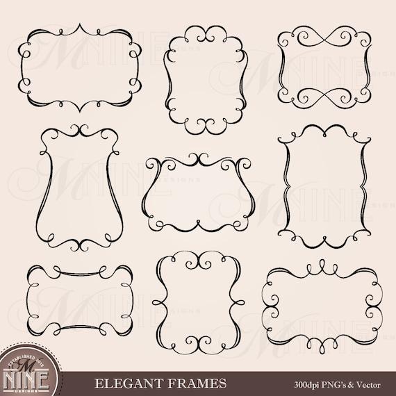 Preferred ELEGANT FRAMES Clip Art: Borders Frames Clipart Design Elements  BW15