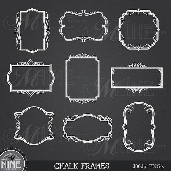 Parisian Chalk Scrapbook Clip Art Frames Chalk ART NOUVEAU FRAMES Clip Art  Art Nouveau Chalkboard Clipart  Chalk Downloads