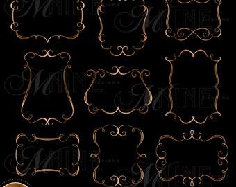 BRONZE ELEGANT FRAMES Clipart Design Elements, Instant Download, Borders Frames Clipart Metallic