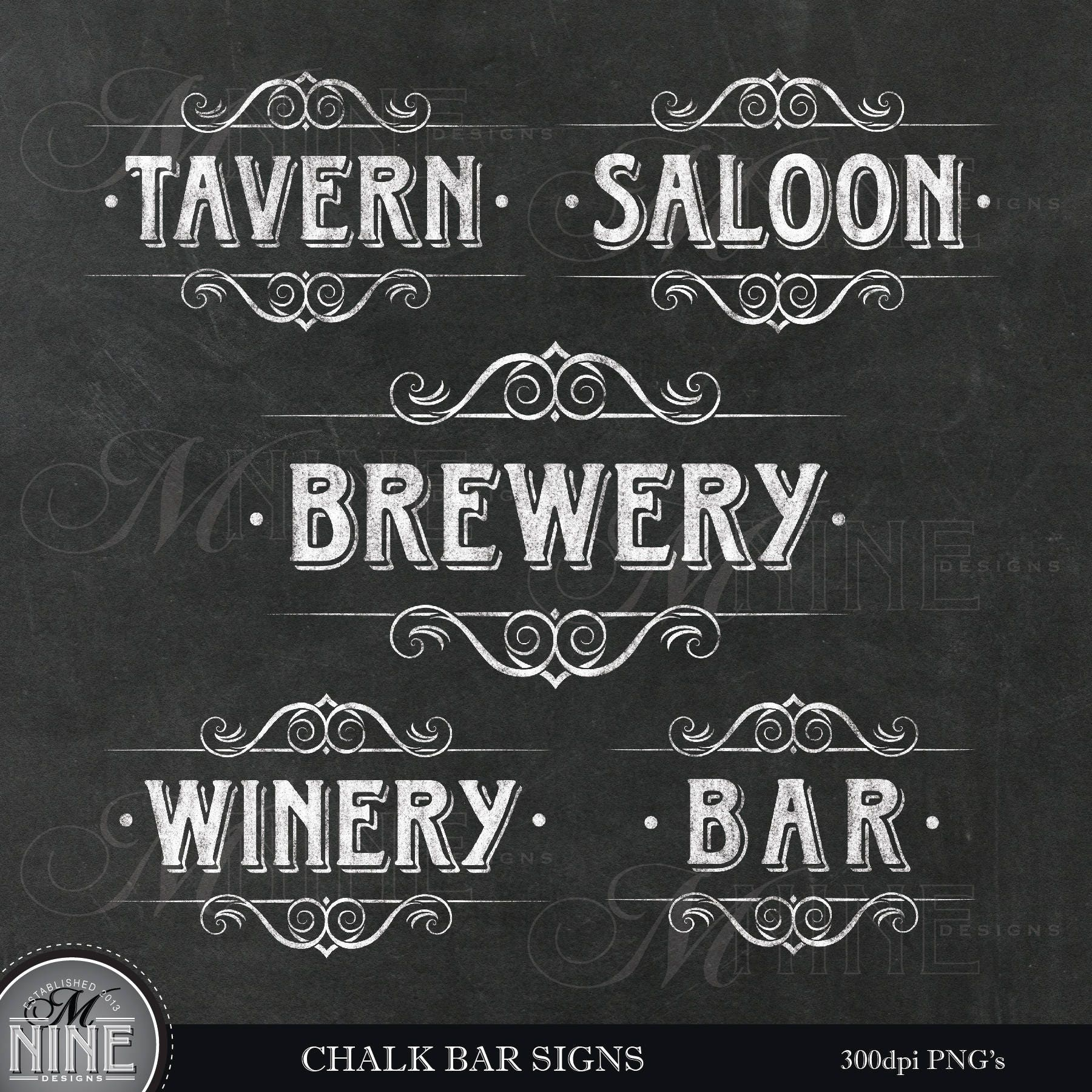 CHALK BAR SIGNS Clip Art / Wine Clipart / Gold Clip Art | Etsy