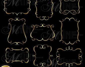 GOLD ELEGANT FRAMES Clipart Design Elements, Instant Download, Borders Frames Clipart Metallic