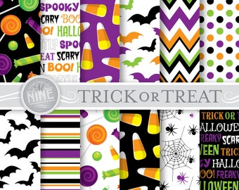HALLOWEEN Digital Paper / Halloween Printables / Trick or Treat Patterns Download, Halloween Scrapbook Paper Printables