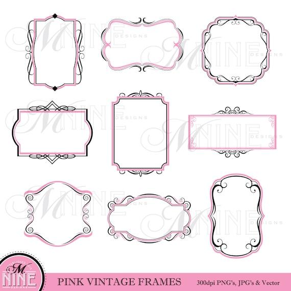 Frame Clipart Pink Black Vintage Frame Clip Art Frame Etsy
