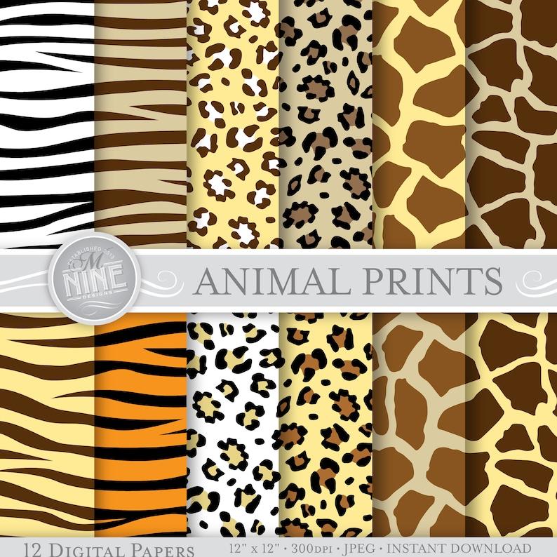 c28348b849 WILD ANIMAL PRINTS Digital Paper 12 x 12 Patterns