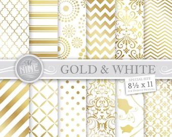 GOLD Digital Paper / Gold & White Patterns / 8 1/2 x 11 Gold Printable Patterns, Gold Downloads Gold Scrapbook Paper Pack