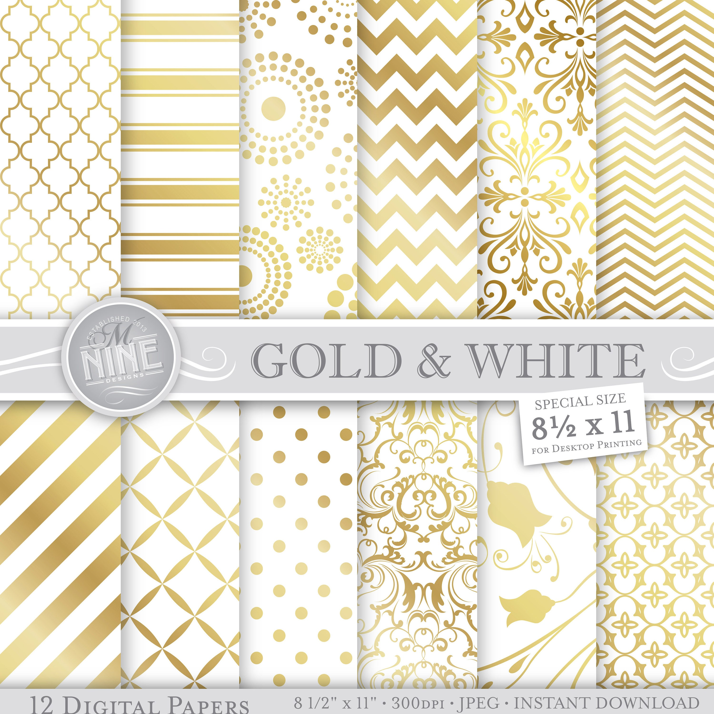 graphic relating to Printable Pattern Paper named GOLD Electronic Paper / Gold White Designs / 8 1/2 x 11 Gold Printable Types, Gold Downloads Gold Sbook Paper Pack