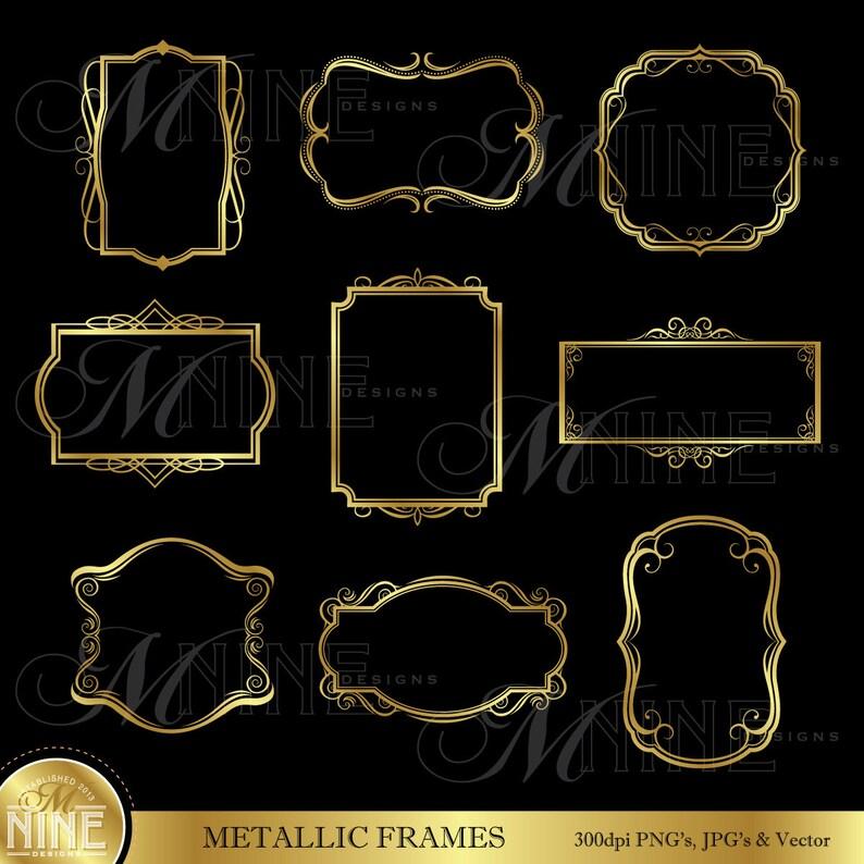 2de2d1197475 Frame Clip Art  GOLD VINTAGE FRAMES Clipart Design Elements