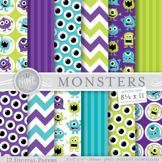 monsters digital paper monster party paper printables 8 etsy