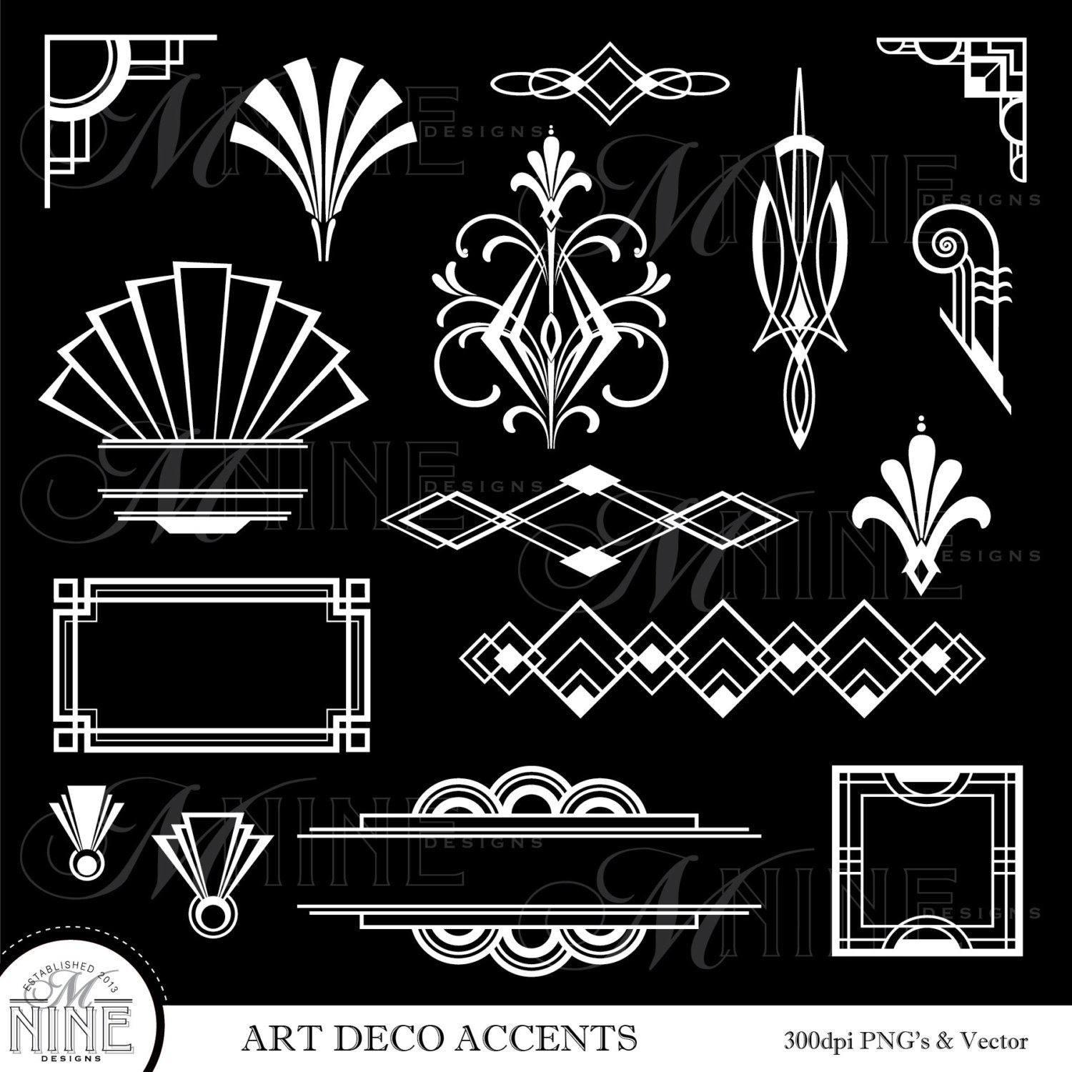 Art Deco Clip Art White Art Deco Accents Digital Etsy