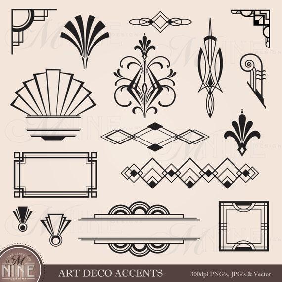 digital clipart art deco design elements frames borders etsy rh etsy com art deco clip art free download art deco clip art borders