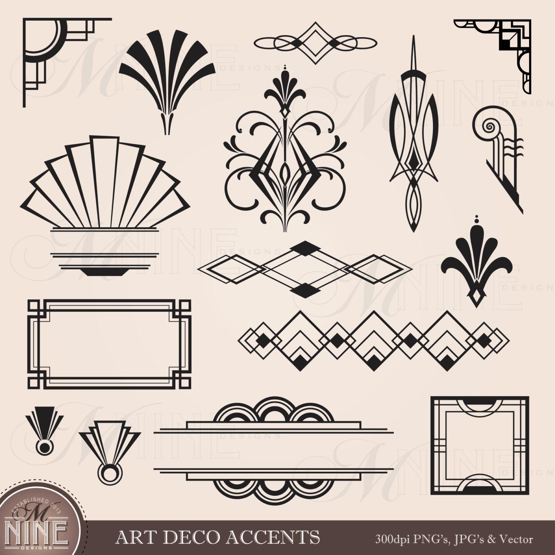 Vintage frame border design Scrollwork 50 Etsy Digital Clipart Art Deco Design Elements Frames Borders Etsy