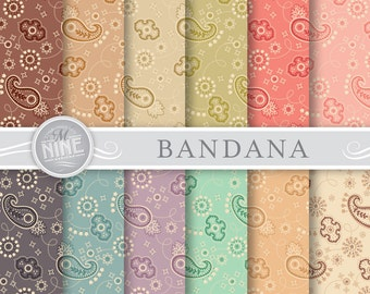 "BANDANA Digital Paper: ""VINTAGE BANDANA Print"" Pattern Prints, Instant Download, Bandana Patterns Backgrounds"