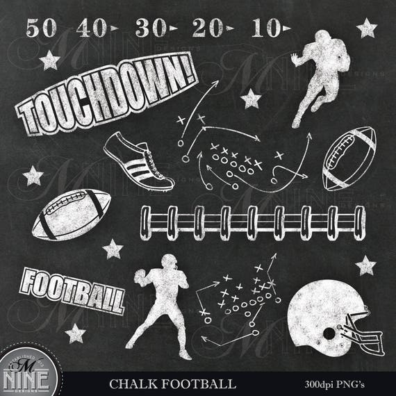 chalk football clip art chalkboard football clipart etsy