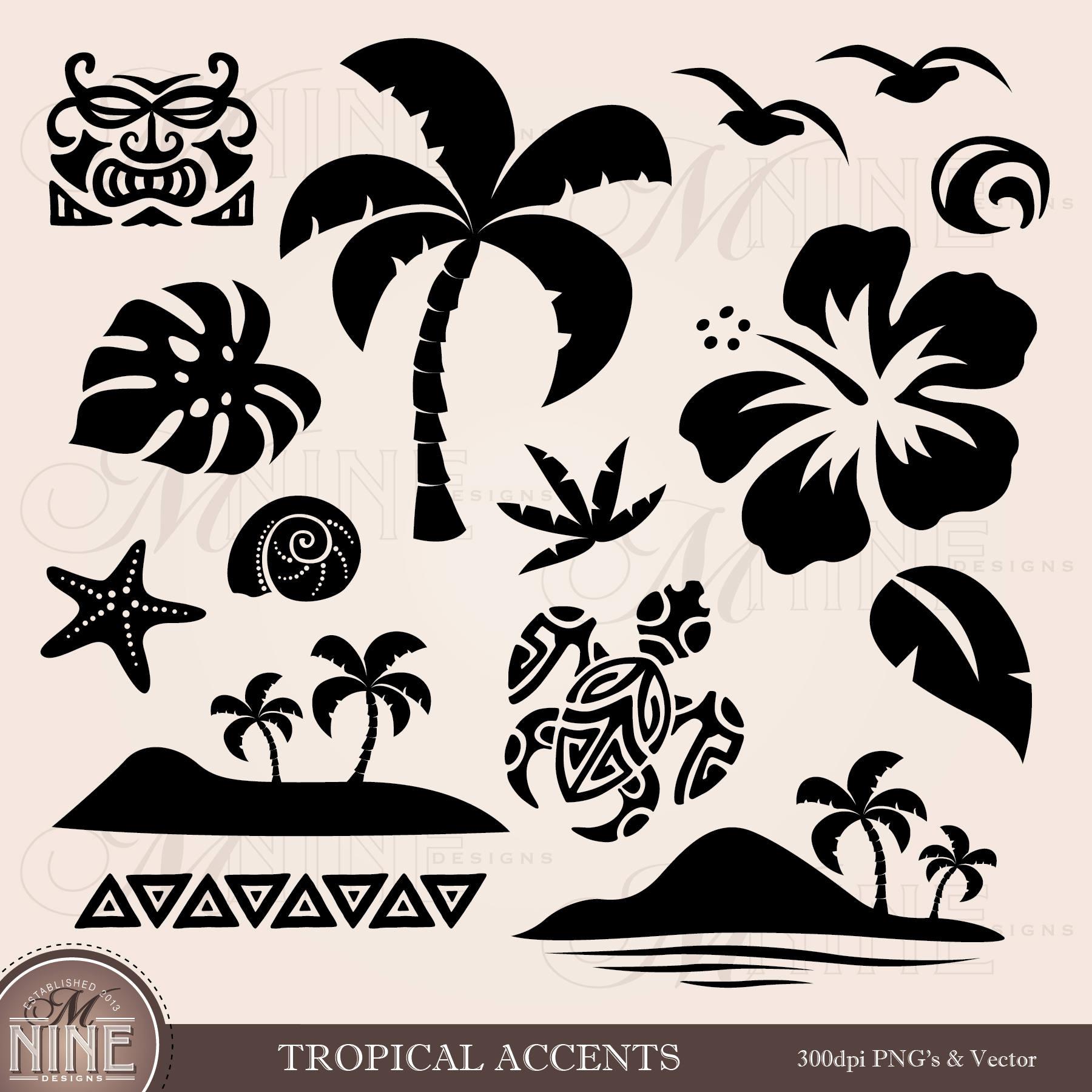 White TROPICAL Clip Art  Tropical Accents Design Elements Vector Hawaiian Clipart Accents Accent Silhouette Clip art Tropical Downloads