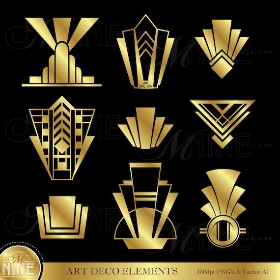 Gold art deco clip art gold art deco elements clipart etsy - Art deco design elements ...