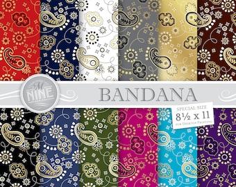 GOLD BANDANA Digital Paper / Gold Bandana Print / 8 1/2 x 11 Gold Bandana Patterns, Bandana Scrapbook Paper Printables