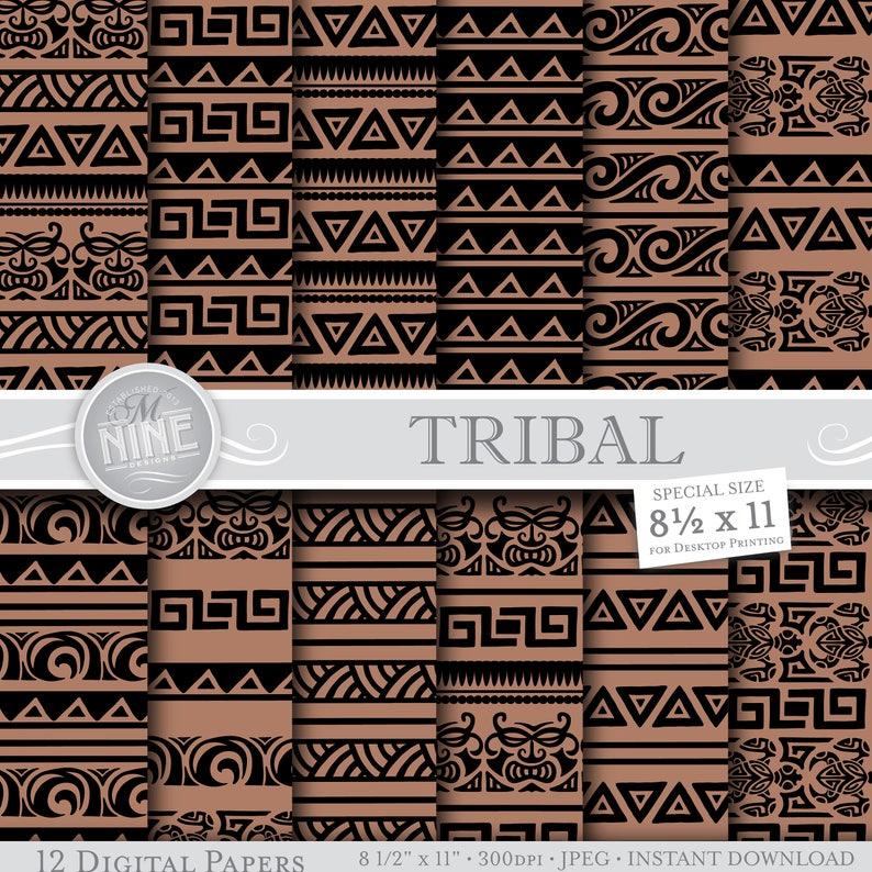 Plemienne Tatuaże Polinezyjskie Papieru Cyfrowego Moana Party 8 12 X 11 Wzorów Pobierz Instant Pliki Do Pobrania Papier Do Druku Notatnik
