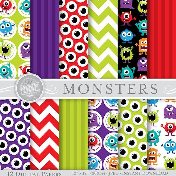 monsters digital paper monsters party printables monster etsy