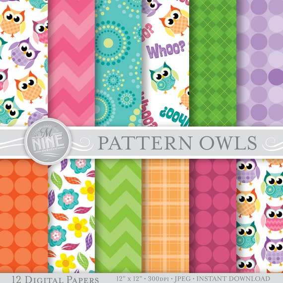 photograph relating to Printable Paper Patterns known as OWLS Electronic Paper: Habit OWLS Printable Routine Print, Owls Down load, 12 x 12 Owl Behaviors Owls Sbook Print