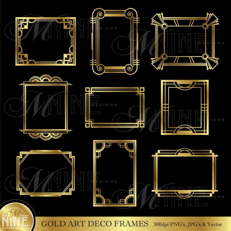Gold Art Deco Frame Clip Art Art Deco Frames Design Elements Etsy
