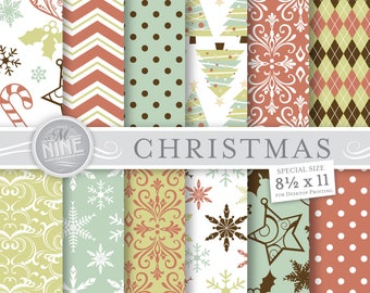 CHRISTMAS Digital Paper / Vintage Christmas Patterns / 8 1/2 x 11 Christmas Prints, Instant Download, Holiday Printables Scrapbook Paper