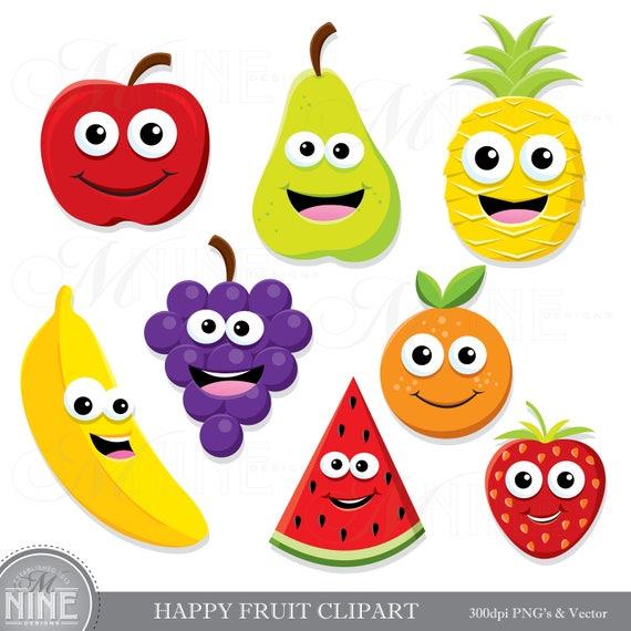 HAPPY FRUIT Clip Art / Fruit Clipart Downloads / Cute ...