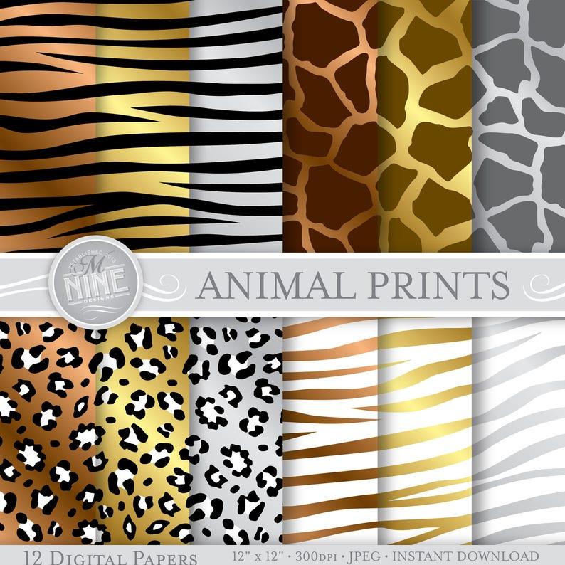 c6611ef8d383d Metallic ANIMAL PRINTS Digital Paper Pattern Prints Instant   Etsy