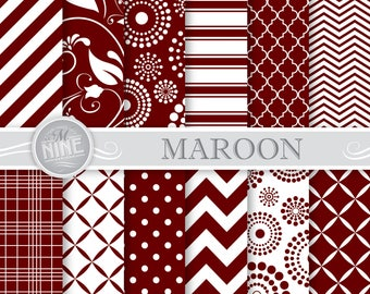 MAROON Digital Paper / Red Printable Patterns / Seamless Patterns, Patterns Download, Maroon Scrapbook Printables, Digital Downloads