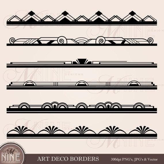 art deco border clip art art deco borders design elements etsy rh etsy com art deco clip art designs art deco clip art frame