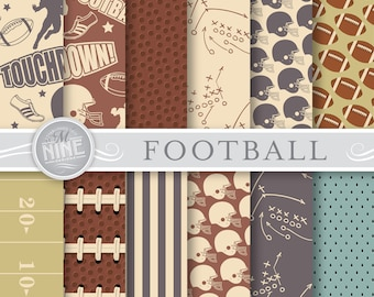 VINTAGE FOOTBALL Digital Paper / Football Party Printables / Football Patterns, Sports Theme Party, Football Downloads, DIY Party Paper