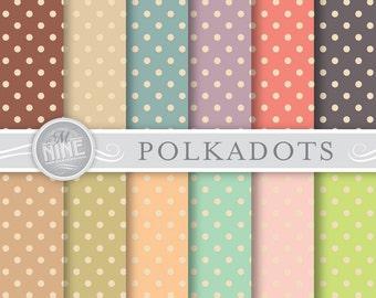 Polkadot Digital Paper: VINTAGE POLKADOTS Printable Pattern Print, Polkadot Download, 12 x 12 Polkadot Scrapbook Backgrounds