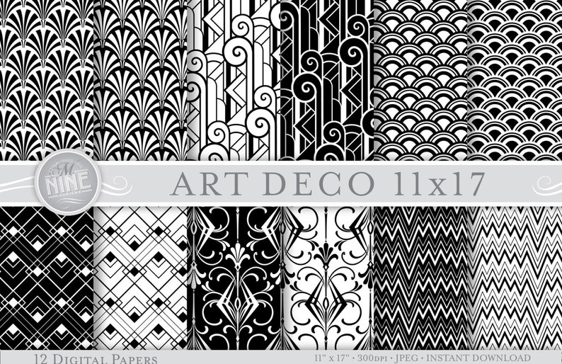 imprim e en noir blanc motif art d co motifs papiers etsy. Black Bedroom Furniture Sets. Home Design Ideas