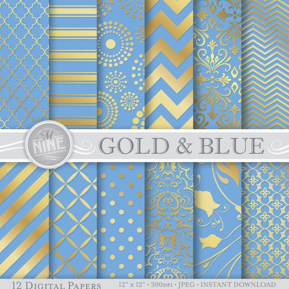 picture about Printable Paper Patterns identify GOLD and BLUE Electronic Paper Models Gold Behaviors Prints, Quick Down load, Cinderella Layouts Printable Sbook Paper Pack