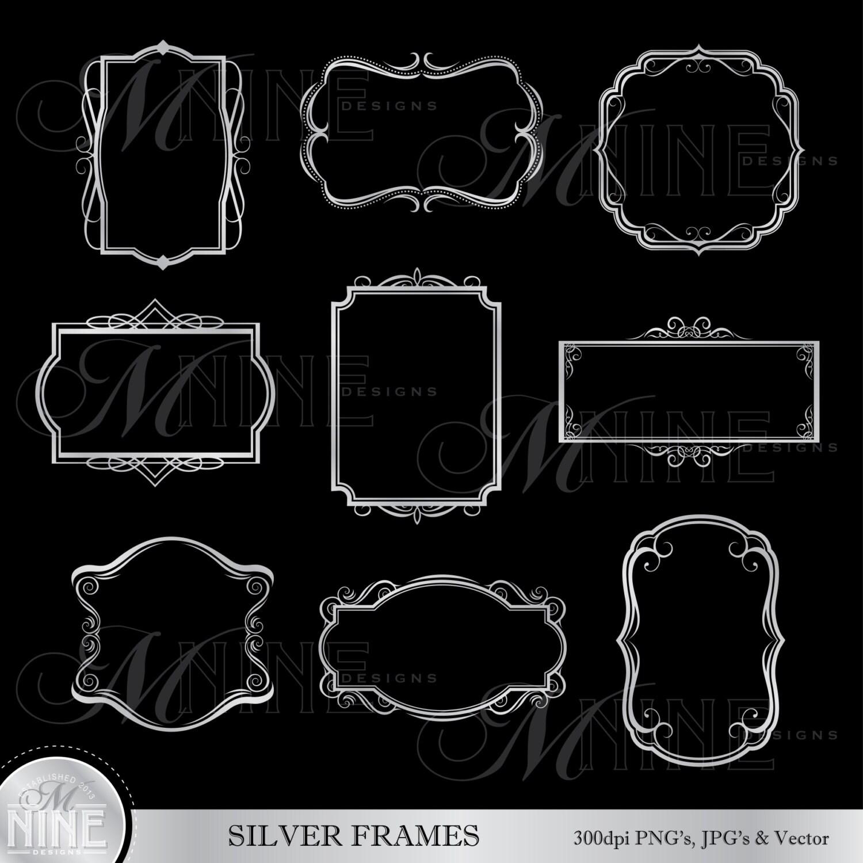 Silber-FRAMES Clip Art Metallic Style-Digital Clipart | Etsy
