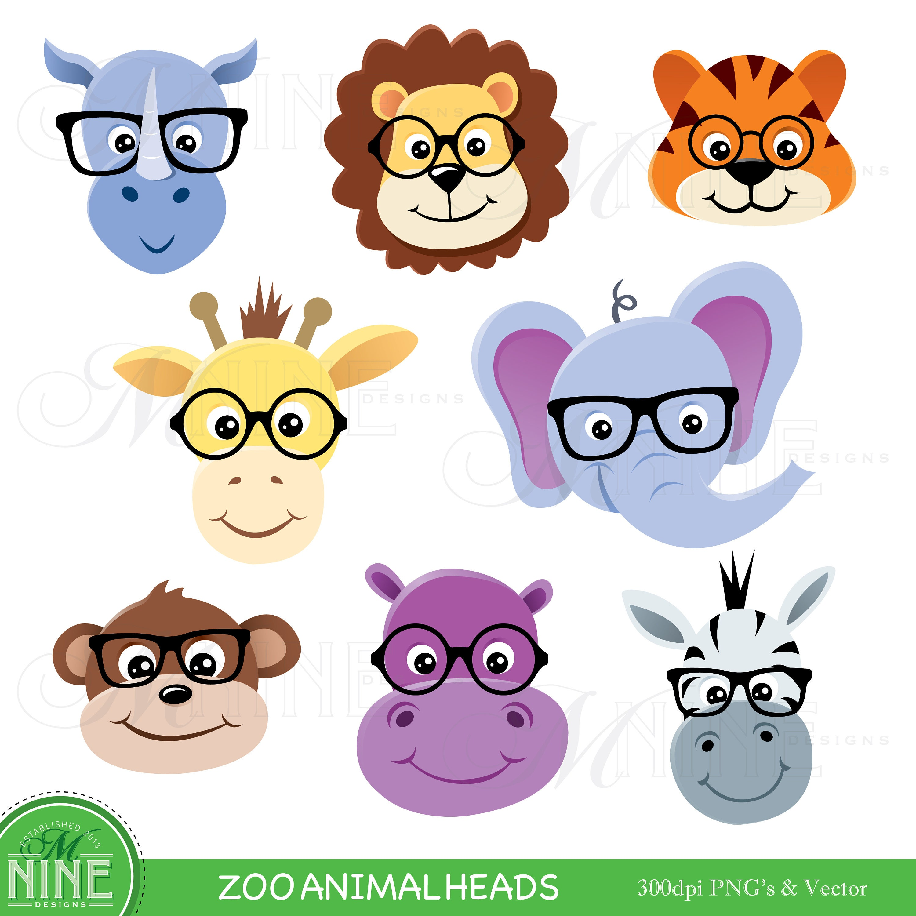 Animal Clip Art Zoo Animal Heads With Glasses Clipart Etsy