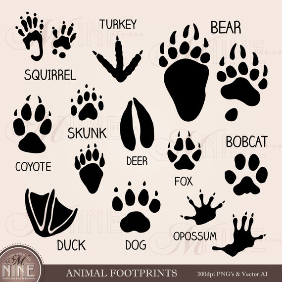 Animal Footprints Clip Art Paw Marks Clipart Downloads Etsy