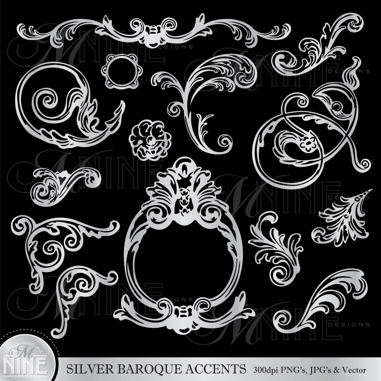 Silber Barock Akzente Clipart Illustrationen sofort-Download | Etsy