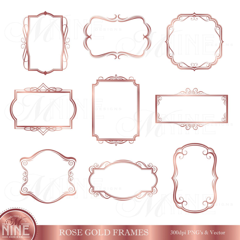 Rose Gold Rahmen Clipart / Digital ClipArt Rahmen / Instant | Etsy