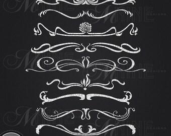 Header Clipart: CHALK NOUVEAU HEADER Clip Art Header Design Elements, Header Download, Art Nouveau Chalkboard Accents Clip Art