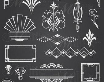 CHALK ART DECO Clipart: Chalkboard Art Deco Clip Art Design Elements, Instant Download, Vintage Accents