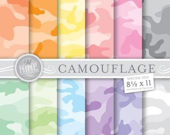 "PASTEL CAMOUFLAGE Digital Paper Pack Pattern Prints, Instant Download, 8 1/2"" x 11"" Camo Patterns Backgrounds Scrapbook Print"