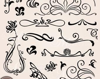 ART NOUVEAU ACCENTS Clipart Digital Clip Art, Instant Download, Vintage Design Elements Antique Borders Clip Art Png Svg Silhouette Clipart