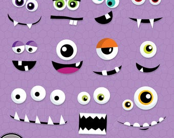 MONSTER EYES and MOUTHS Clip Art / Monster Faces Clipart Downloads / Monster Party, Monsters Theme, Monsters Scrapbook, Vector Monsters
