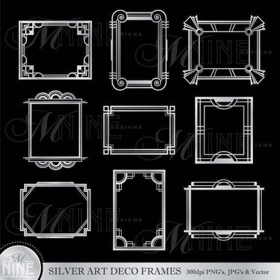 Zilveren Art Deco Frames Illustraties Art Deco Frameranden Etsy