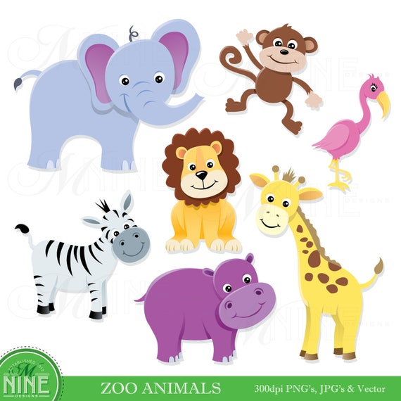 animal clip art zoo animals clipart digital clip art etsy rh etsy com zoo animal clip art printables free zoo animals clip art black and white