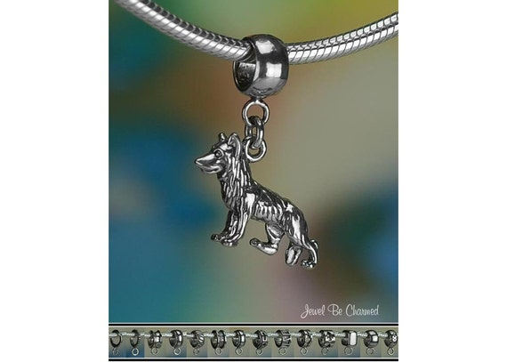 Sterling Silver German Shepherd Charm Or European Style Bracelet .925 by Etsy